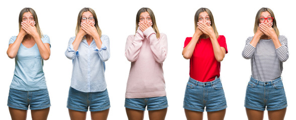 Collage of blonde beautiful woman wearing casual look over white isolated backgroud shocked covering mouth with hands for mistake. Secret concept.