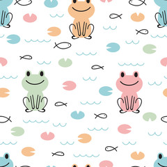 Hand drawn seamless pattern with cute cartoon frogs and fishes. Kids background. Childish design texture for fabric, wrapping, textile, decor