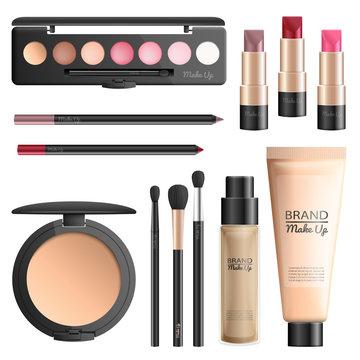 Cosmetics and makeup tools realistic vector set
