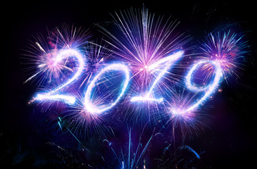Wall Mural - Happy New Years 2019 With Fireworks