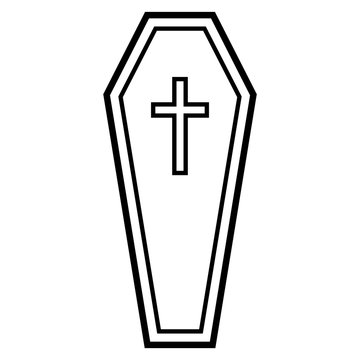Simplistic line art (black) coffin icon. Isolated on white