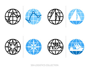 Sea logistics and transportation icon set with globe, logo template. Vector graphics collection.