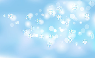 New Years, Christmas chaotic blur bokeh of light snowflakes on background blue. Vector illustration for design and decorating