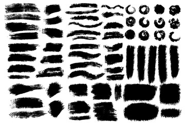 Vector big set of hand drawn brush strokes varios shape and texture, stains for backdrops. Monochrome design elements set. One color black artistic hand drawn backgrounds.