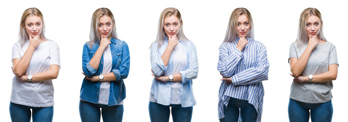 Collage of beautiful blonde young woman over isolated background looking confident at the camera with smile with crossed arms and hand raised on chin. Thinking positive.