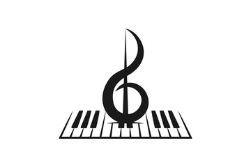 piano, violin, musical logo inspiration isolated on white background