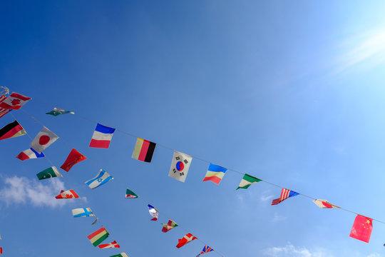 運動会の国旗(キャッチスペースあり)