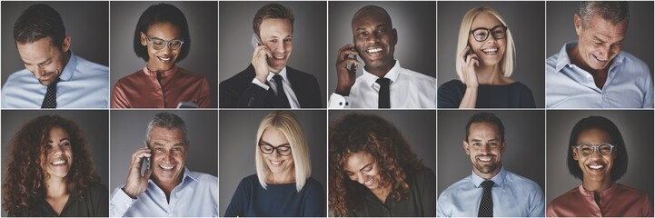 Diverse group of businesspeople smiling and talking on cellphone