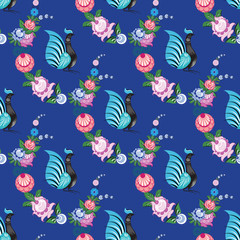 Seamless background with folk Russian patterns for the design