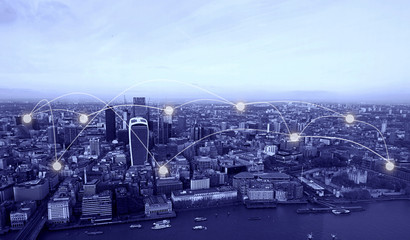 Blue tone London cityscape and network connection and communication concept.