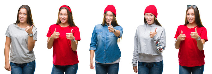 Collage of young beautiful brunette girl over white isolated background doing happy thumbs up gesture with hand. Approving expression looking at the camera with showing success.
