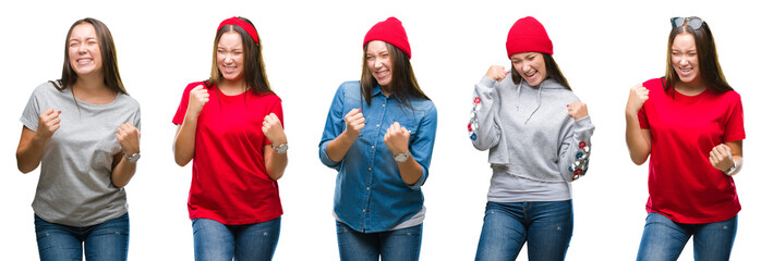 Collage of young beautiful brunette girl over white isolated background very happy and excited doing winner gesture with arms raised, smiling and screaming for success. Celebration concept.