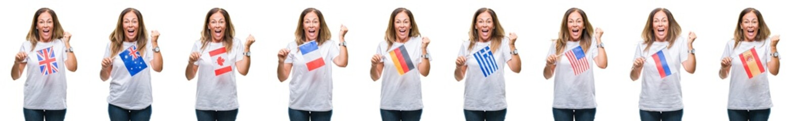 Collage of middle age mature woman holding flags of different countries over white isolated background screaming proud and celebrating victory and success very excited, cheering emotion