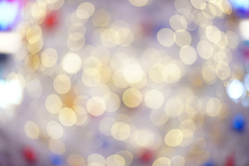 Colourful & Beautiful Blurry circle bokeh, out of focus background in the Christmas concept and theme.