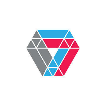 number 7 abstract triangles logo vector