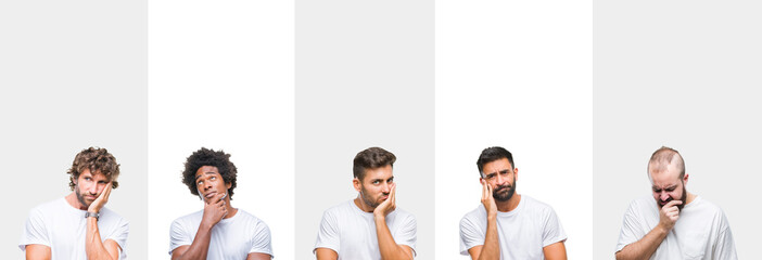 Collage of young caucasian, hispanic, afro men wearing white t-shirt over white isolated background thinking looking tired and bored with depression problems with crossed arms.