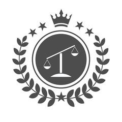 Justice scales lawyer logo, Scales of Justice sign icon. Court of law symbol, Abstract graphic icon, logo design template, symbol for company.