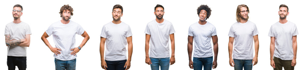 Collage of young caucasian, hispanic, afro men wearing white t-shirt over white isolated background smiling looking side and staring away thinking.