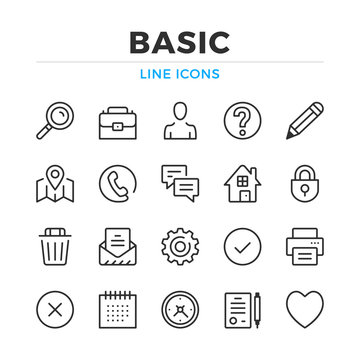 Basic line icons set. Modern outline elements, graphic design concepts, simple symbols collection. Vector line icons