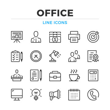 Office line icons set. Modern outline elements, graphic design concepts, simple symbols collection. Vector line icons