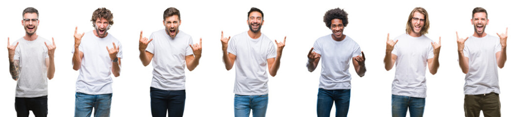 Collage of young caucasian, hispanic, afro men wearing white t-shirt over white isolated background shouting with crazy expression doing rock symbol with hands up. Music star. Heavy concept.