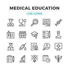 Medical education line icons set. Modern outline elements, graphic design concepts, simple symbols collection. Vector line icons