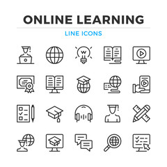 Online learning line icons set. Modern outline elements, graphic design concepts, simple symbols collection. Vector line icons
