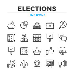 Elections line icons set. Modern outline elements, graphic design concepts, simple symbols collection. Vector line icons