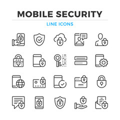 Mobile security line icons set. Modern outline elements, graphic design concepts, simple symbols collection. Vector line icons