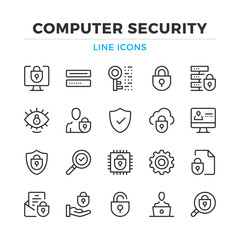 Computer security line icons set. Modern outline elements, graphic design concepts, simple symbols collection. Vector line icons