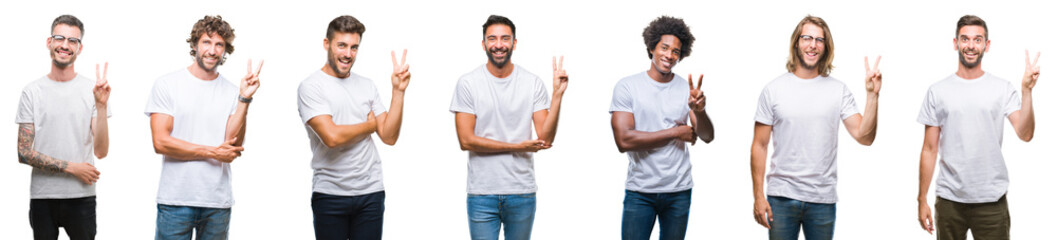 Collage of young caucasian, hispanic, afro men wearing white t-shirt over white isolated background smiling with happy face winking at the camera doing victory sign. Number two.