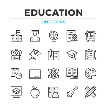 Education line icons set. Modern outline elements, graphic design concepts, simple symbols collection. Vector line icons