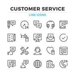 Customer service line icons set. Modern outline elements, graphic design concepts, simple symbols collection. Vector line icons