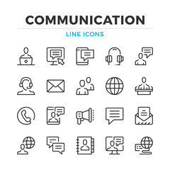 Communication line icons set. Modern outline elements, graphic design concepts, simple symbols collection. Vector line icons