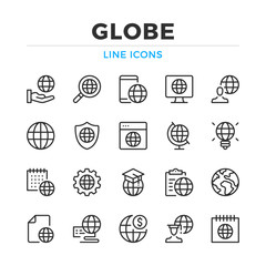 Globe line icons set. Modern outline elements, graphic design concepts, simple symbols collection. Vector line icons