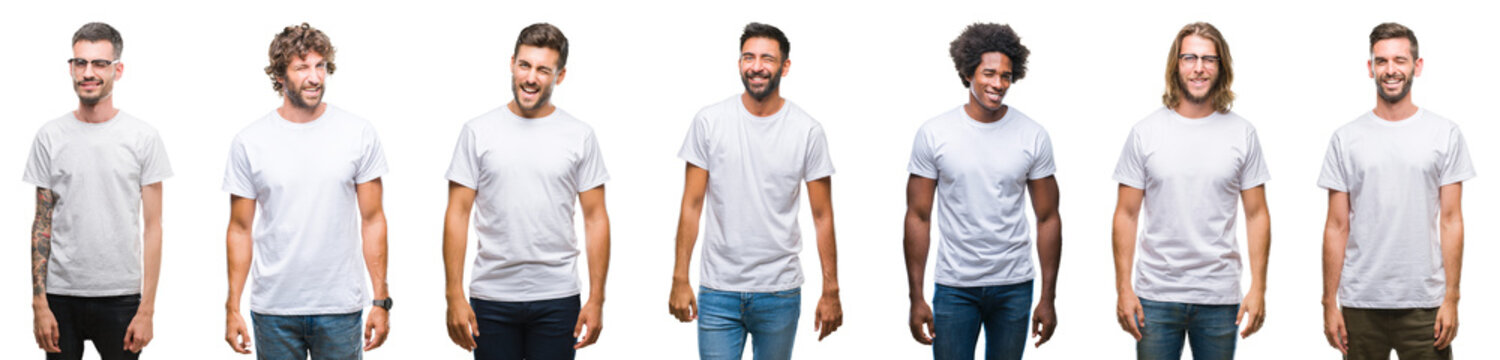 Collage of young caucasian, hispanic, afro men wearing white t-shirt over white isolated background winking looking at the camera with sexy expression, cheerful and happy face.
