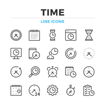 Time line icons set. Modern outline elements, graphic design concepts, simple symbols collection. Vector line icons