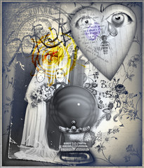Foto op Canvas Imagination Graffiti background with magic crystal ball and esoteric sketches