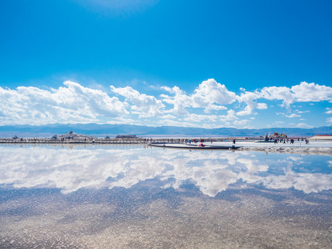 scenery of Chaka Salt Lake