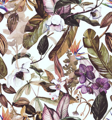 Seamless watercolor pattern with tropical flowers, magnolia, orange flower, vanilla orchid, tropical leaves, banana leaves