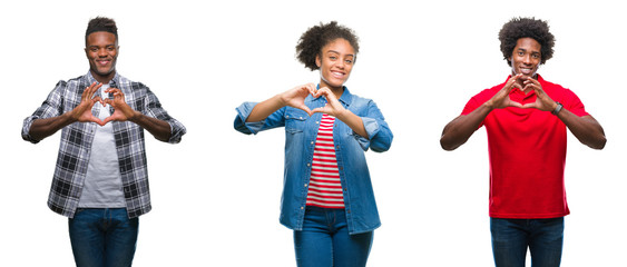Collage of group african american people with afro hair over isolated background smiling in love showing heart symbol and shape with hands. Romantic concept.