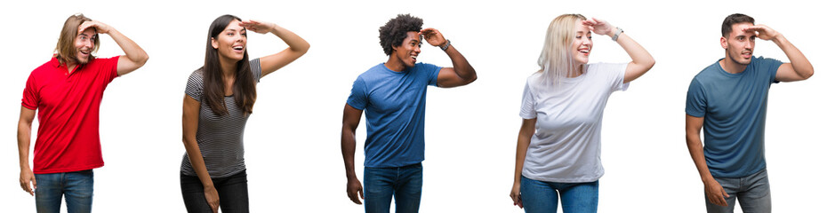 Composition of african american, hispanic and caucasian group of people over isolated white background very happy and smiling looking far away with hand over head. Searching concept. Wall mural
