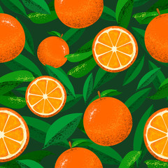 Seamless Floral Pattern with the background of oranges and leaves. Can be used and suitable for gift cards, banners, wallpapers, backgrounds, patterns, websites, and invitations