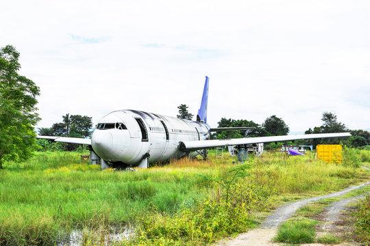 Abandoned Airplane Graveyard at grassland in Chiang mai,Thailand.