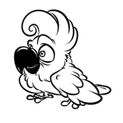 Funny Parrot Cockatoo cartoon illustration isolated image coloring page