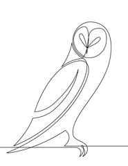 Door stickers One Line Art Owl Continuous Line Vector Graphic Cartoon