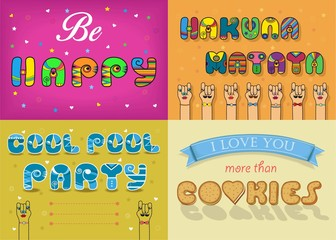 Funny inscription by artistic font. Be Happy. Hakuna Matata. Cool Pool party. Cookies.