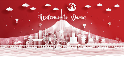 Fototapete - Panorama postcard of world famous landmarks of Japan in paper cut style vector illustration