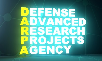 Acronym DARPA - Defense Advanced Research Projects Agency. 3D rendering. USA administrative concept illustration