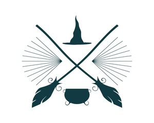 Abstract emblem with Halloween theme. Broomsticks, witch hat and caldron